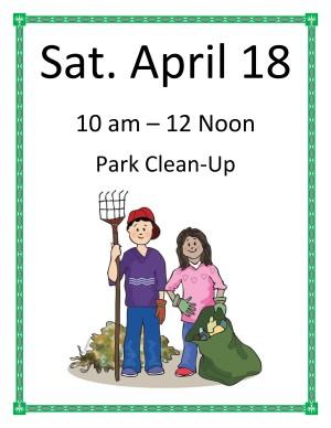 April 18 – Park clean up!!