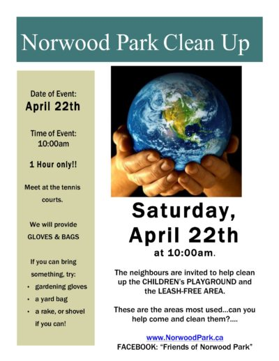 April 22 – 10am – Norwood Park clean up!!