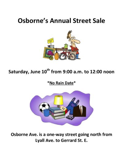 June 10:  9-12 noon  — Street sale on Osborne!