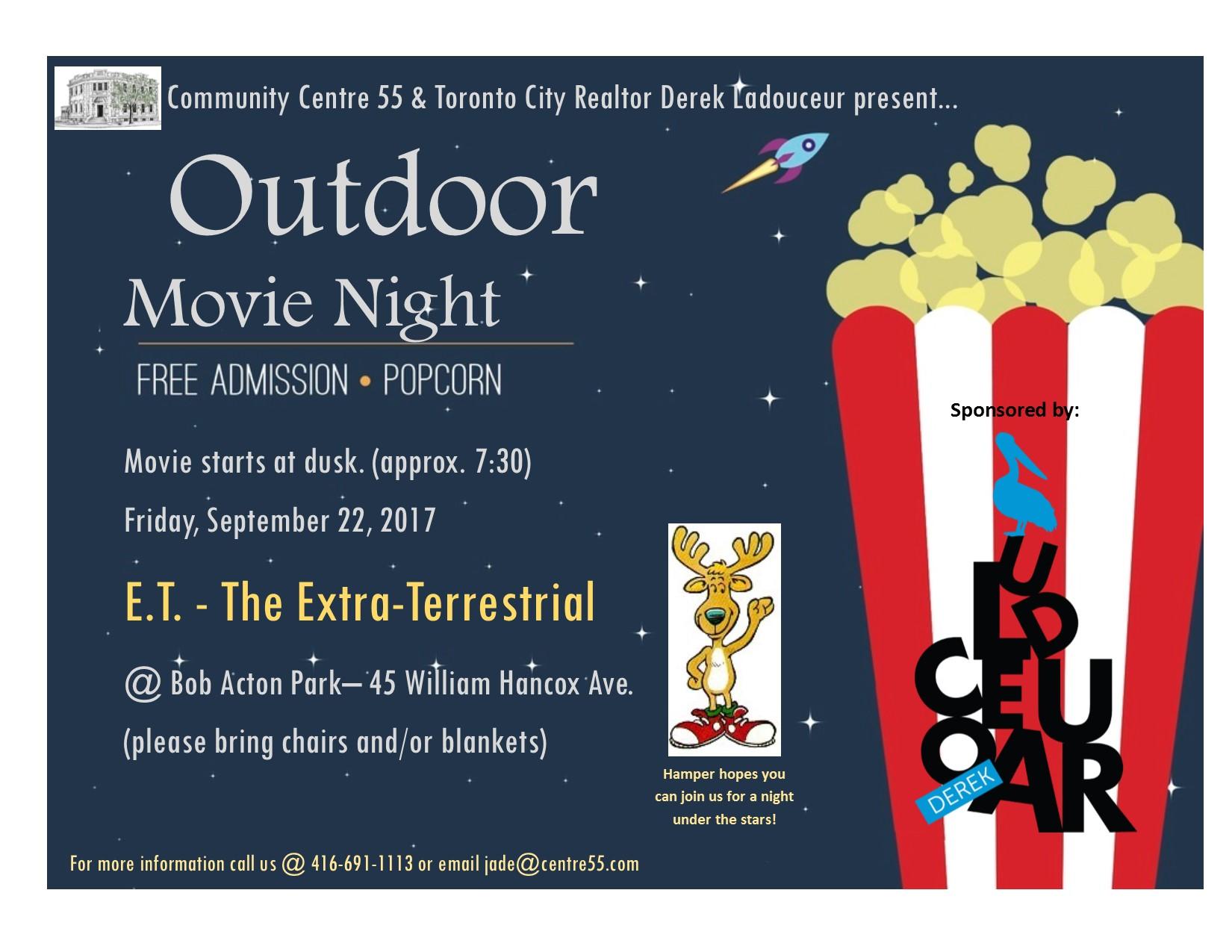 Sept 22 – Outdoor movie in Bob Acton Park
