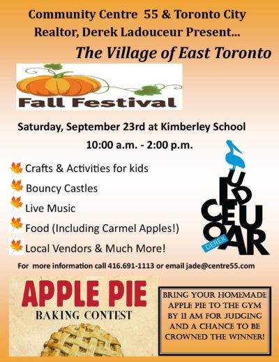 Sept 23 – Fall Festival for the Village of East Toronto
